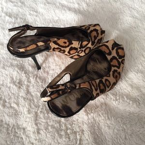 Sam Edelman Leopard Print Peep Toe Heels